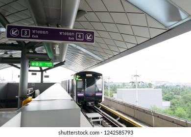 NOVEMBER 17, 2018 : BANGKOK, THAILAND - MRT metro skytrain purple line