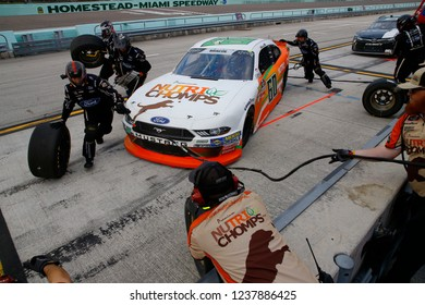 November 17, 2018 - Homestead, Florida, USA: Chase Briscoe (60) brings his car down pit road for service during the Ford 300 at Homestead-Miami Speedway in Homestead, Florida.