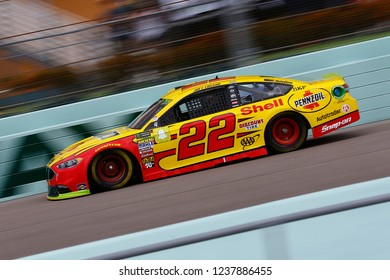 November 17, 2018 - Homestead, Florida, USA: Joey Logano (22) brings his race car down the front stretch during practice for the Ford 400 at Homestead-Miami Speedway in Homestead, Florida.