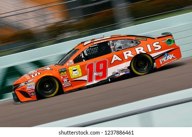 November 17, 2018 - Homestead, Florida, USA: Daniel Suarez (19) brings his race car down the front stretch during practice for the Ford 400 at Homestead-Miami Speedway in Homestead, Florida.