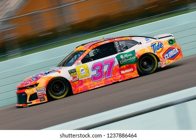 November 17, 2018 - Homestead, Florida, USA: Chris Buescher (37) brings his race car down the front stretch during practice for the Ford 400 at Homestead-Miami Speedway in Homestead, Florida.