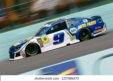 November 17, 2018 - Homestead, Florida, USA: Chase Elliott (9) brings his race car down the front stretch during practice for the Ford 400 at Homestead-Miami Speedway in Homestead, Florida.
