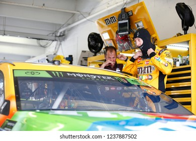 November 17, 2018 - Homestead, Florida, USA: Kyle Busch (18) gets ready to practice for the Ford 400 at Homestead-Miami Speedway in Homestead, Florida.