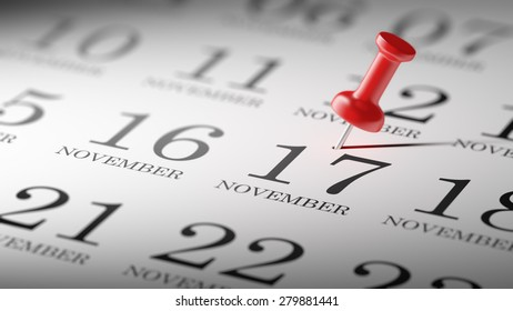 November 17 written on a calendar to remind you an important appointment.