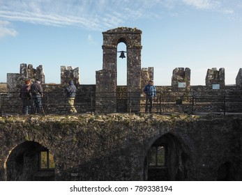 November 17th, 2017, Blarney, Ireland - Tourists visiting the famous Blarney Castle, a medieval stronghold in Blarney, near Cork, Ireland, and the River Martin.