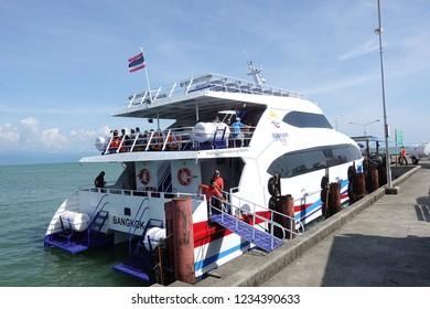 November 18, 2018: BOONSIRI HIGH SPEED FERRIES service Ferry speed power boat for people via various routings in Trat area: Koh Mak, Koh Kood and Trat (Laem Sok Pier), Trat, Thailand