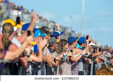 November 18, 2018 - Homestead, Florida, USA: Fans takes to the stage for driver introductions at the Ford 400 at Homestead-Miami Speedway in Homestead, Florida.