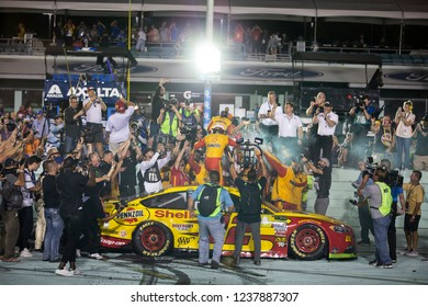 November 18, 2018 - Homestead, Florida, USA: Joey Logano (22) wins The Monster Energy NASCAR Cup Series Championship at Homestead-Miami Speedway in Homestead, Florida.