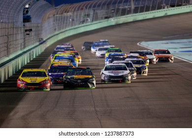 November 18, 2018 - Homestead, Florida, USA: Joey Logano (22) and Martin Truex, Jr (78) lead the field down the front stretch during the Ford 400 at Homestead-Miami Speedway in Homestead, Florida.