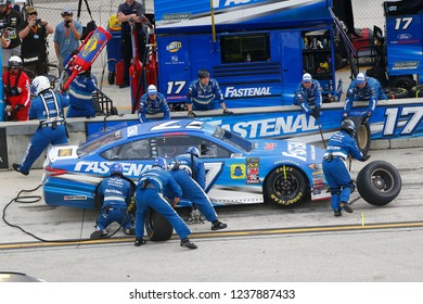 November 18, 2018 - Homestead, Florida, USA: Ricky Stenhouse, Jr (17) makes a pit stop during  the Ford 400 at Homestead-Miami Speedway in Homestead, Florida.