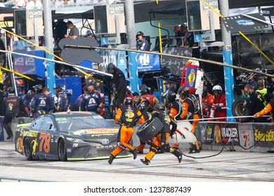 November 18, 2018 - Homestead, Florida, USA: Martin Truex, Jr (78) makes a pit stop during the Ford 400 at Homestead-Miami Speedway in Homestead, Florida.