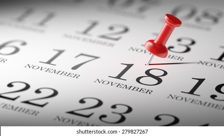 November 18 written on a calendar to remind you an important appointment.