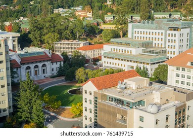 November 19, 2017 Berkeley/CA/USA - Aerial view the Department of Astronomy, Stanley Hall and the Hearst Mining Circle in UC Berkeley campus, San Francisco bay area, California