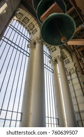 November 19, 2017 Berkeley/CA/USA - Carillon and high arches at the top of the Campanile (Sather tower), San Francisco bay area