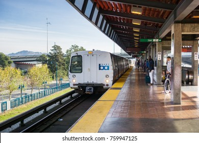 November 19, 2017 Oakland/CA/USA - BART train arriving at the Coliseum stop, Richmond bound, east San Francisco bay area
