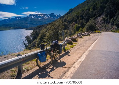 NOVEMBER 19, 2017: Touring Bike at Nahuel Huapi lake, Patagonia Argentina.