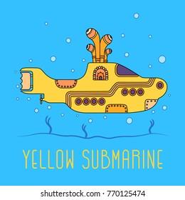 November 19.2017 . Editorial illustration of the Beatles yellow submarine . World Beatles Day topic January 16th .