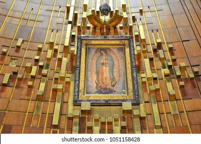 November 2, 2010. Image of Our Lady of Guadalupe in the New Basilica in Mexico City.