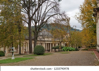 November 2, 2018, Montecatini Terme, Italy: a park and buildings in the terms of Tettuccio - the main thermal complex of Montecatini   - Shutterstock ID 1233790978