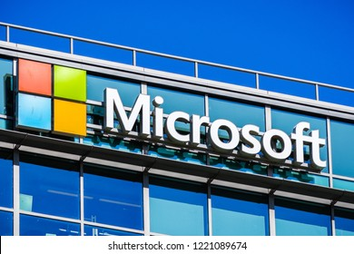 November 2, 2018 Sunnyvale / CA / USA - Microsoft logo at the company's office building located in Silicon Valley, south San Francisco bay area