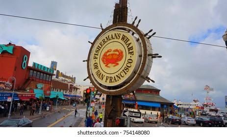November 2012: Photo of famous Fisherman's Wharf in San Francisco, California, United States of America