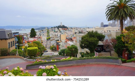 November 2012: Photo from famous Lombard street, San Francisco, California, United States of America