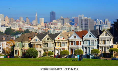 November 2012: Photo from iconic Vicotrian style houses, Painted Ladies in Alamo Square, San Francisco, California, United States of America