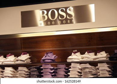 "NOVEMBER 2013 - BERLIN: brands: the logo of the clothing company ""Boss"" (Hugo Boss), Berlin."