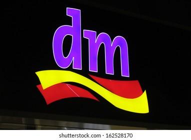"NOVEMBER 2013 - BERLIN: brands: the logo of the German company ""dm"", Berlin."