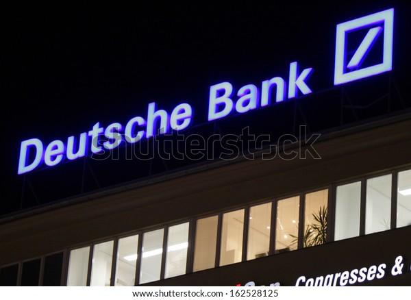 """NOVEMBER 2013 - BERLIN: brands: the logo of the German bank """"Deutsche Bank"""", Berlin."""