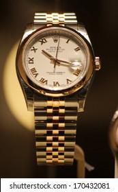 "NOVEMBER 2013 - BERLIN: an expensive ""Rolex"" wrist watch in a display window, Berlin."