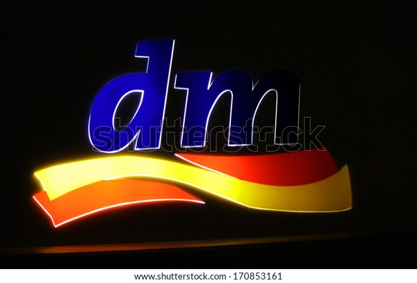 "NOVEMBER 2013 - BERLIN: logo of the brand ""dm"", Berlin."