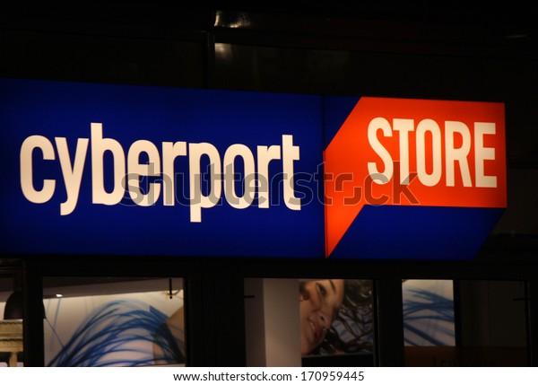 "NOVEMBER 2013 - BERLIN: the logo of the brand ""cyberport"", Berlin."