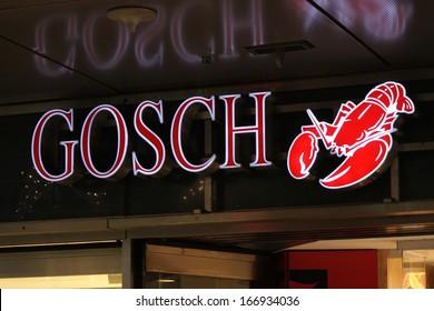 "NOVEMBER 2013 - BERLIN: logo/ electronic sign for ""Gosch Sylt"", Berlin."