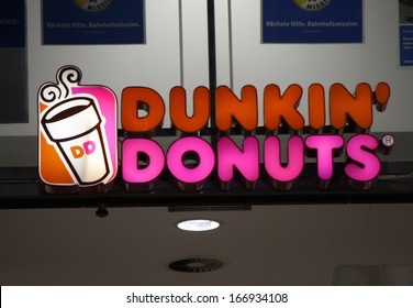 "NOVEMBER 2013 - BERLIN: logo/ electronic sign for ""Dunkin Donuts"", Berlin."