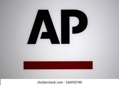 "NOVEMBER 2013 - BERLIN: logo/ electronic sign for the news agency ""AP - Associated Pressr"", Berlin."