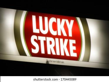"NOVEMBER 2013 - BERLIN: logo/ electronic sign for ""Lucky Strike"", Berlin."