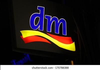 "NOVEMBER 2013 - BERLIN: logo/ electronic sign for ""dm"", Berlin."