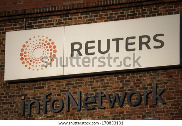 "NOVEMBER 2013 - BERLIN: logo of the news agency ""Reuters"", Berlin."