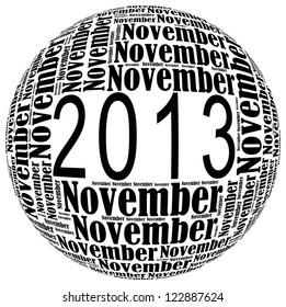 November 2013 info-text graphics arrangement on white background