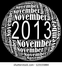 November 2013 info-text graphics arrangement on black background