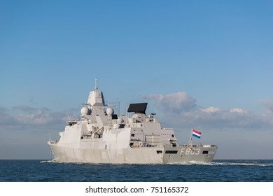 November 2017. Dutch navy frigate, Tromp sailing on the Northsea. (translation) Koninklijke Marine fregat de Tromp op de Noordzee.