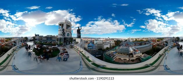 NOVEMBER 2017 - MADRID: 420 x 180 degree Panorama: Circulo de Bellas Artes, Madrid.