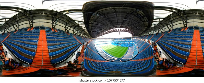 NOVEMBER 2017 - MADRID: 440 x 180 degree panorama of the Santiago Bernabeu stadium of the spanish football club Real Madrid.