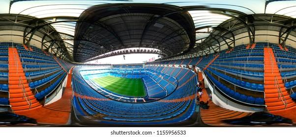 NOVEMBER 2017 - MADRID: 440 x 180 degree panorama of the Santiago Bernabeu stadium of the spanish football club Real Madrid.