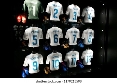 NOVEMBER 2017 - MADRID: the jerseys of the finalists of the 2017 CL finals Real Madrid and Atletico Madrid  at the Santiago Bernabeu stadium of the spanish football club Real Madrid.