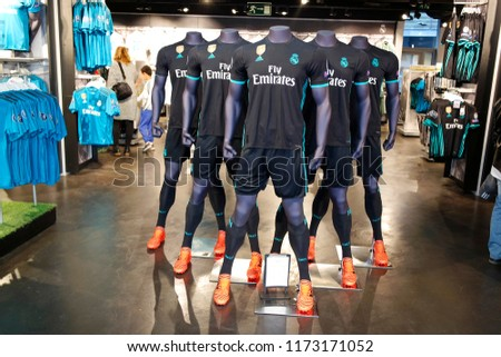187400eb4cc NOVEMBER 2017 - MADRID  life size figures of Christiano Ronaldo at the fan  store of