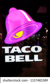 "NOVEMBER 2017 - MADRID: the logo of the brand ""Taco Bell"", Madrid."