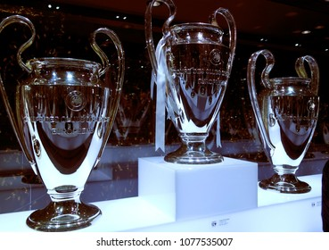 NOVEMBER 2017 - MADRID: UEFA Champions League trophy: trophies at the Santiago Bernabeu stadium of the spanish football club Real Madrid.