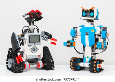 November, 2017. Minsk, Belarus.  Lego Boost Robot Vernie VS Lego Mindstorms EV 3 Wally. Robotics class for child and teen. School.  Mathematics. Chemistry. STEM education.